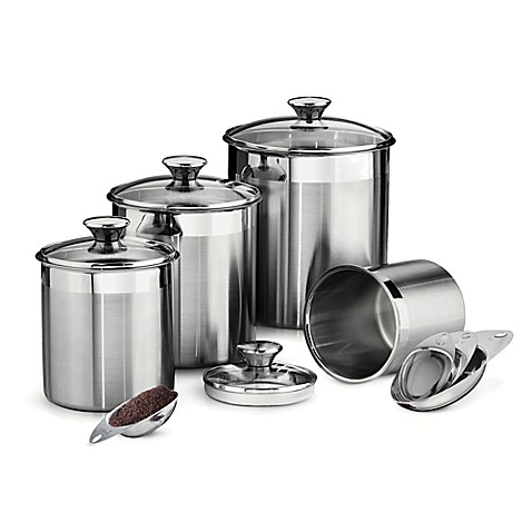 Image Of Tramontina Gourmet 8 Piece Stainless Steel Covered Canister And Scoop Set