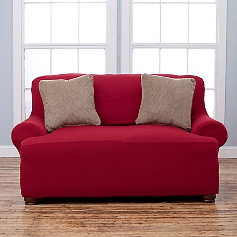 Buy Lucia Love Corduroy Loveseat Slipcover In Burgundy From Bed Bath Beyond