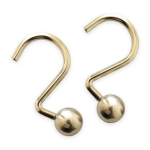 Ball Shower Curtain Hooks in Gold (Set of 12)