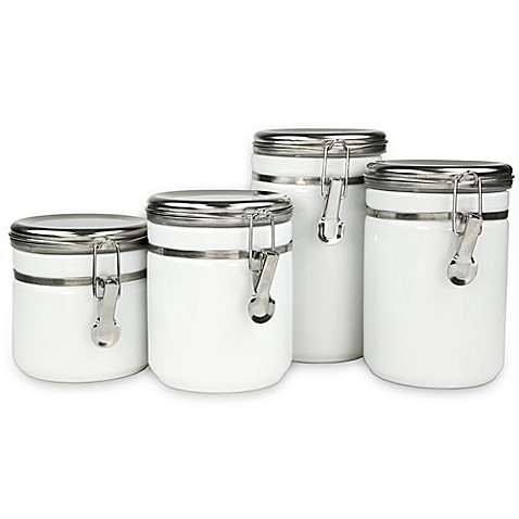 buy 4 piece ceramic canister set with stainless steel tops in white from bed bath beyond. Black Bedroom Furniture Sets. Home Design Ideas