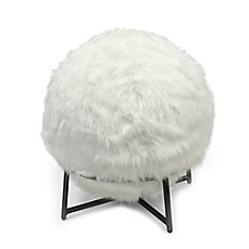 image of inflatable ball chair with faux fur cover and stand in ivory