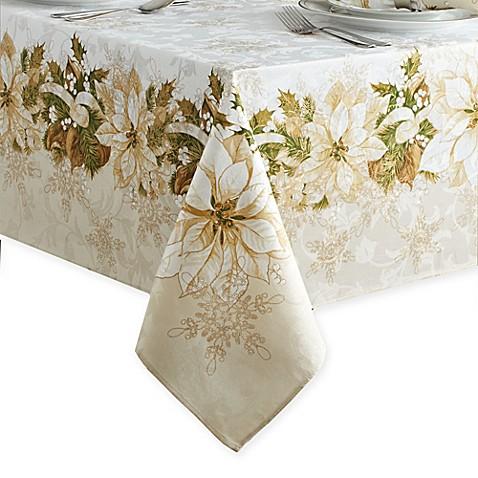 Merveilleux White Poinsettia Tablecloth