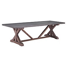 image of Zuo Durham Wood and Metal Dining Table in Grey