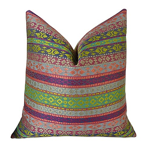 Buy Plutus Striped Handmade 24-Inch Square Throw Pillow in Fuchsia/Magenta from Bed Bath & Beyond