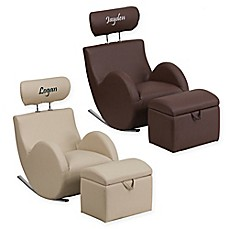 image of Flash Furniture Personalized Kids Rocking Chair and Ottoman Set