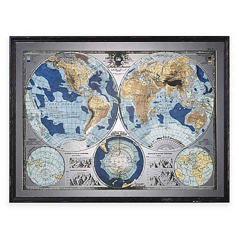 Uttermost mirrored world map wall art bed bath beyond uttermost mirrored world map wall art gumiabroncs Image collections