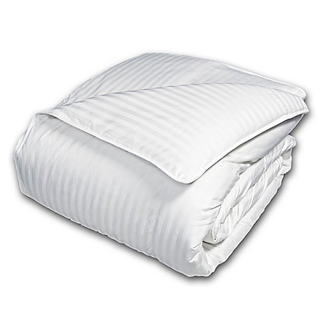 Damask Goose Down And Feather Comforter In White Bed