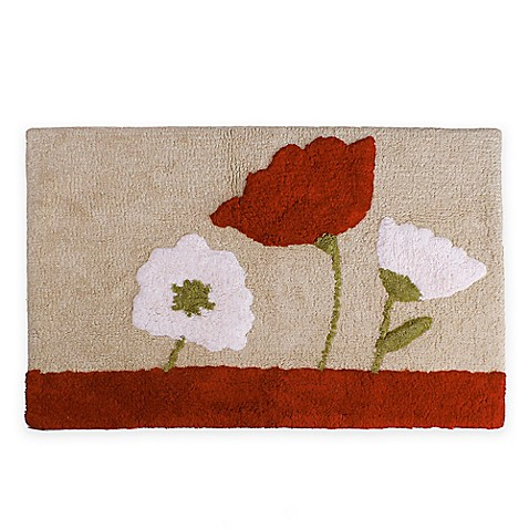 Saturday Knight Poppy Field Bath Rug In Red Bed Bath Beyond