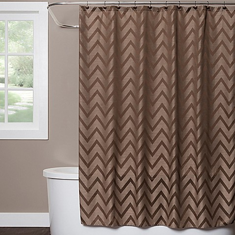 Saturday Knight Chevron Shower Curtain In Brown Bed Bath