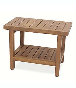 Banco para regadera extra grande con repisa  de madera de teca