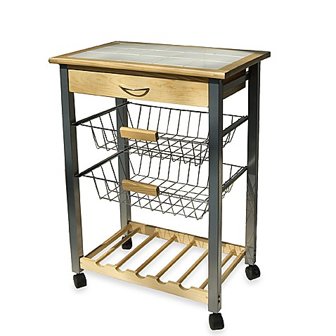 Beautiful Rolling Kitchen Cart With Two Baskets