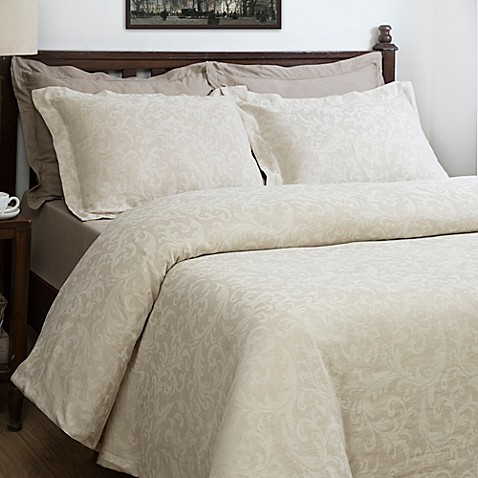 maspar baroque jacquard duvet cover set in natural bed bath beyond. Black Bedroom Furniture Sets. Home Design Ideas