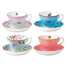 image of Royal Albert Candy Teacups and Saucers (Set of 4)