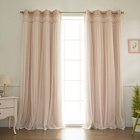 Buy Decorinnovation Sheer Overlay 96 Inch Grommet Top Blackout Window Curtain Panel Pair In Pink