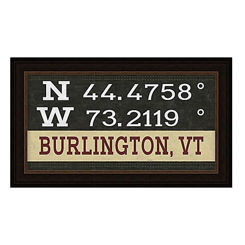 Burlington Vermont Coordinates Framed Giclee Wall Art