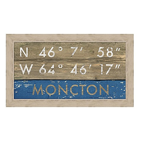 Moncton, New Brunswick Canada Coordinates Framed Giclee Print Wall Art