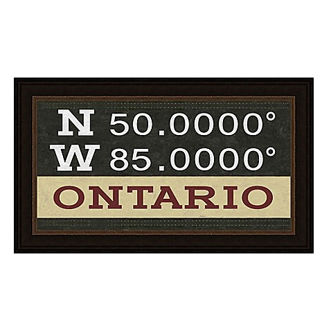Ontario, Canada Coordinates Framed Giclee Print Wall Art