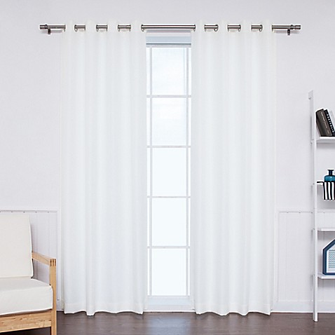 Buy Decorinnovation Oxford 96 Inch Grommet Top Outdoor Curtain Panel Pair In White From Bed Bath