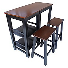 image of 3piece breakfast set with shelves in black