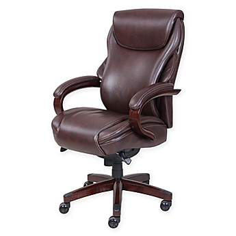 image of lazboy hyland leather executive office chair in coffee