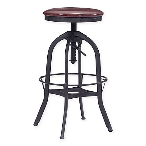 Crete Antique Bar Stool In Burgundy And Black Bed Bath