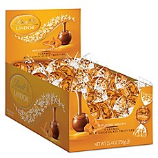 image of Lindt LINDOR Caramel Milk Chocolate Truffles 60-Count Box