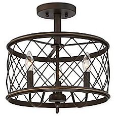 image of Quoizel® Dury Small 3-Light Semi-Flush Mount Ceiling Fixture in Palladian Bronze
