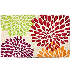 image of J&M Home Fashions 18-Inch x 30-Inch Floral Mums Door Mat