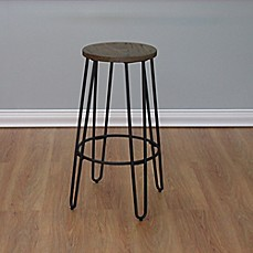 image of The Quinn™ Round Wood Top Backless Bar Stool
