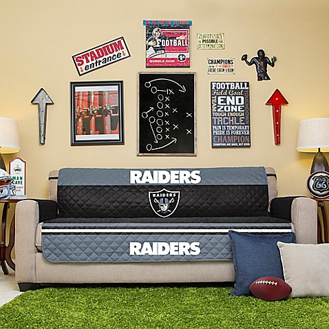Nfl oakland raiders sofa cover bed bath beyond for Nfl furniture covers