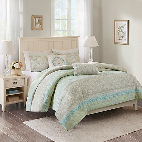 Harbor House Adeline Comforter Set In Taupe Green Bed