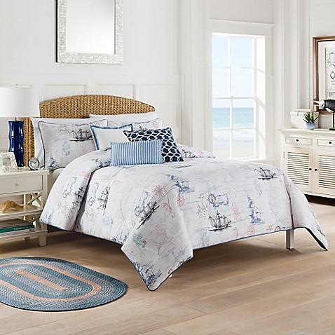 Buy Nautical Map California King Comforter Set In White