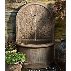 image of Campania Corsini Outdoor Wall Fountain in Aged Limestone