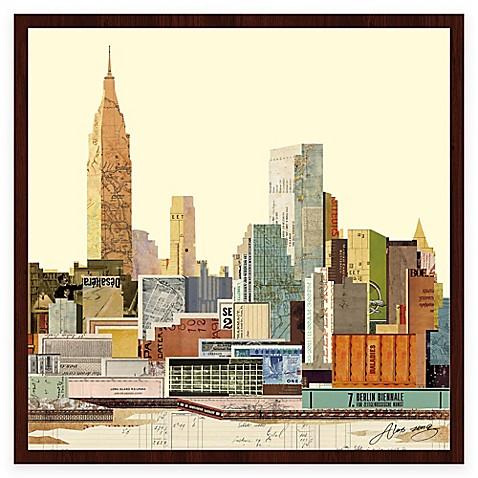 buy new york city skyline 3 collage framed wall art by. Black Bedroom Furniture Sets. Home Design Ideas