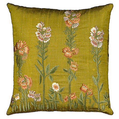 Mina Victory Silk Botanical Flowers Square Throw Pillow In