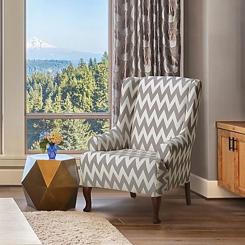 Furnitureskins Dakota Stretch Wing Chair Cover In Grey