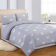 image of LaLa + Bash Wink Butterflies Reversible Comforter Set in Grey