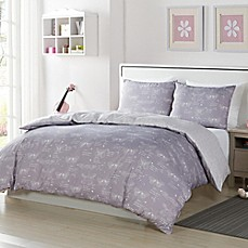 image of Lala + Bash Malar Butterflies Reversible Comforter Set in Grey