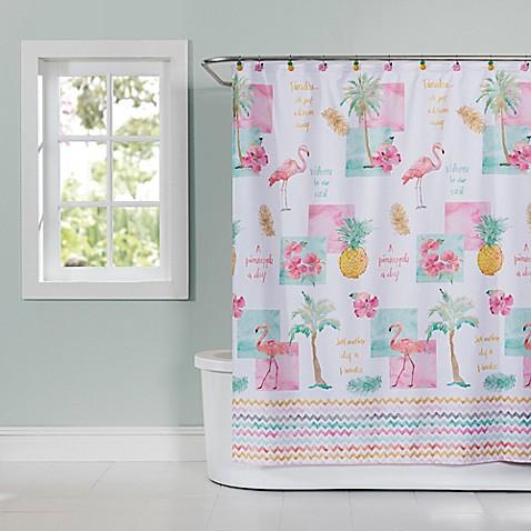 flamingo fever shower curtain bed bath beyond. Black Bedroom Furniture Sets. Home Design Ideas