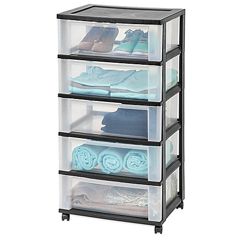 Iris 174 5 Drawer Wide Storage Cart In Black Bed Bath Amp Beyond