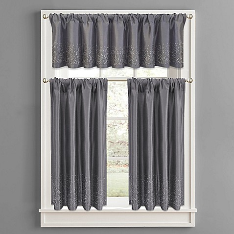 Twilight Window Curtain Tier Pair In Grey Bed Bath Beyond