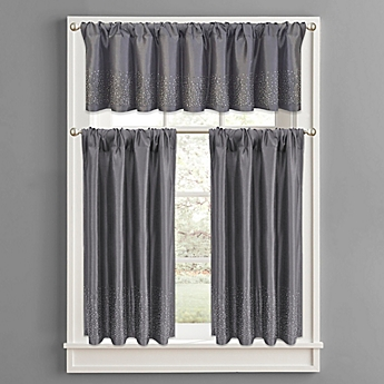 Twilight Polyester Window Curtain Tier Pair And Valance In Grey