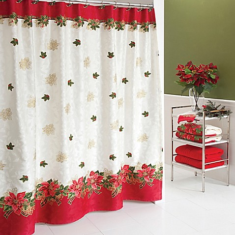 Lenox 174 Poinsettia Tartan Shower Curtain Bed Bath Amp Beyond