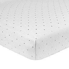 image of Just Born® Sparkle Star Fitted Crib Sheet in Grey