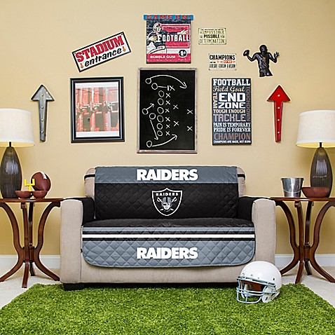 buy nfl oakland raiders love seat cover from bed bath beyond. Black Bedroom Furniture Sets. Home Design Ideas