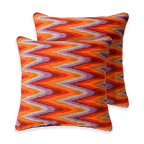 Orange Throw Pillows For Bed : Zenez 18-Inch Square Throw Pillows in Orange (Set of 2) - Bed Bath & Beyond