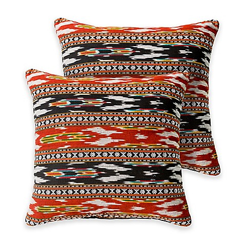 Madison Square 18-Inch Decorative Pillows : Karina 18-Inch Square Throw Pillows in Rust (Set of 2) - Bed Bath & Beyond