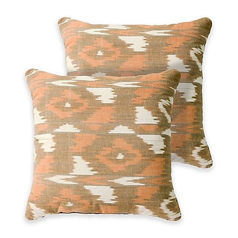 Jamie 18-Inch Square Throw Pillows in Tan (Set of 2) - Bed Bath & Beyond