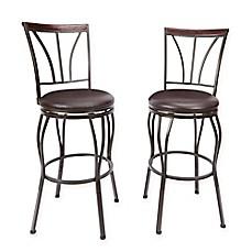 image of ashton bar stool in bronze set of 2 - Leather Counter Stools