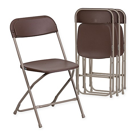 buy flash furniture plastic folding chairs in brown set of 4 from bed bath beyond. Black Bedroom Furniture Sets. Home Design Ideas